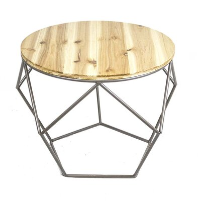 Metal Wood Top End Table