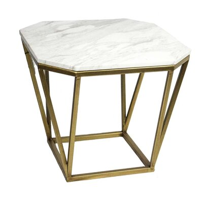Metal Faux Marble End Table