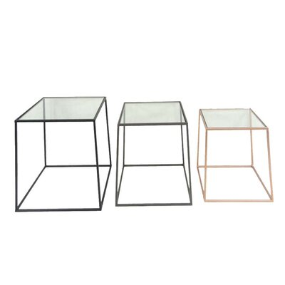 3 Piece Metal & Glass End Table Set