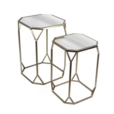 2 Piece Metal & Mirror End Table Set