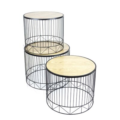 3 Piece Metal & Wooden End Table Set