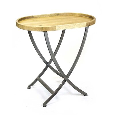 Wood & Metal Oval End Table