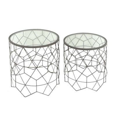 2 Piece Metal & Glass End Table Set