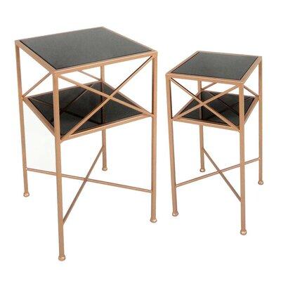 2 Piece Metal & Mirror End Table Set