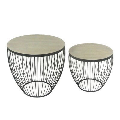 2 Piece Barrel End Table Set