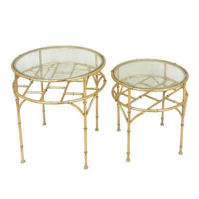 2 Piece Metal and Glass End Table Set