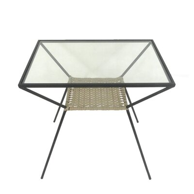 Woven Rattan and Metal End Table