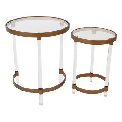 2 Piece End Table Set Color: Black