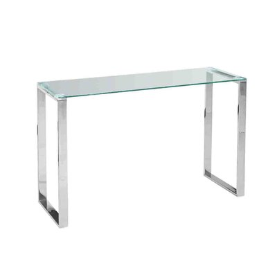 Stainless Steel and Glass Console Table