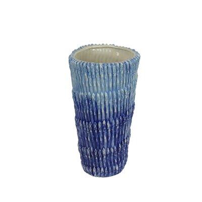 Blue Decorative Trumpet Ceramic Table Vase