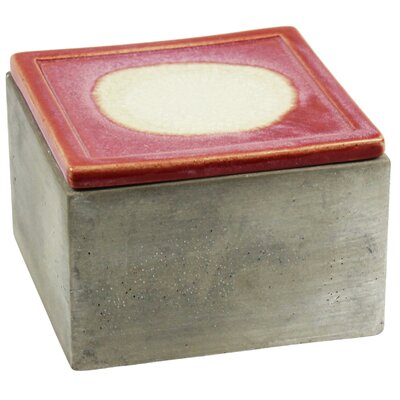 Cement Decorative Box with Rose Lid Size: 3.5