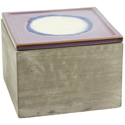 Cement Decorative Box with Rose Lid Size: 4.75