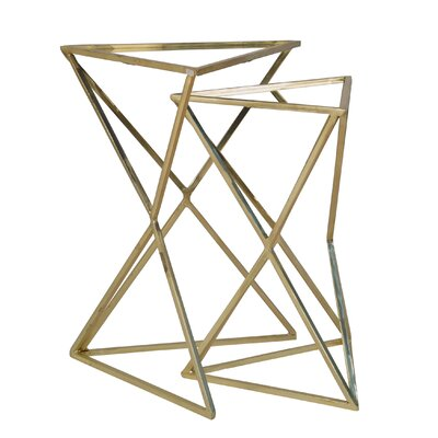 Gelmen Metal Triangle Mirror Top 2 Piece Nesting Tables