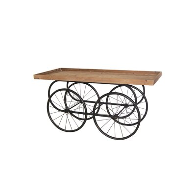 Roza Metal/Wood Decorative Cart Console Table