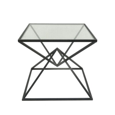 Wakeman Metal Glass Top End Table