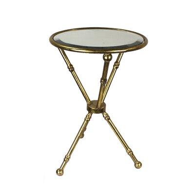 Schweizer Metal and Glass Mirrored Top End Table Color: Gold