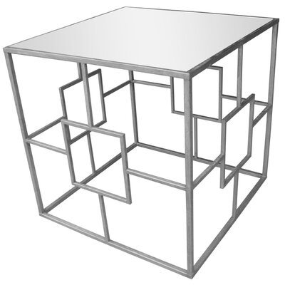 Ascot Place Metal and Glass Mirrored Top End Table