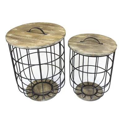 Woodbridge 2 Piece Metal and Wood Barrel Storage End Table Set