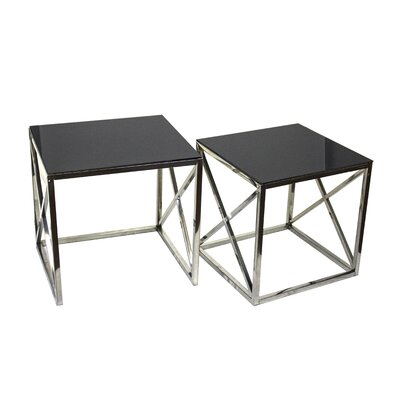 Angelina 2 Piece Glass End Table Set