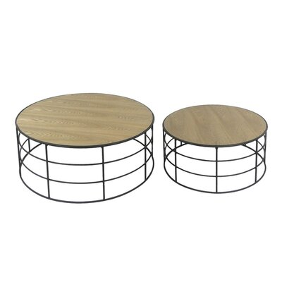 2 Piece Metal & Wooden End Table Set
