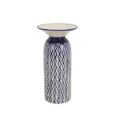 "Image of Alsey Ceramic Diamond Pattern Table Vase Size: 13"" H x 6.75"" W x 6.75"" D"