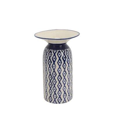 "Image of Alsey Ceramic Diamond Pattern Table Vase Size: 10"" H x 6.25"" W x 6.25"" D"