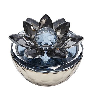 Marshall Glass Trinket Flower Top Decorative Box Color: Gray