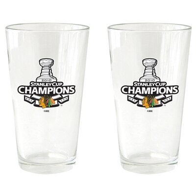 NHL 2010 Stanley Champs - Pint Glass Cup (2 Pack) - Chicago Blackhawks BOHKYCHISC10PI