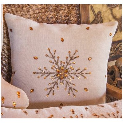 Jeweled Snowflake Linen Throw Pillow