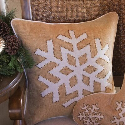 Snowflake Burlap Throw Pillow