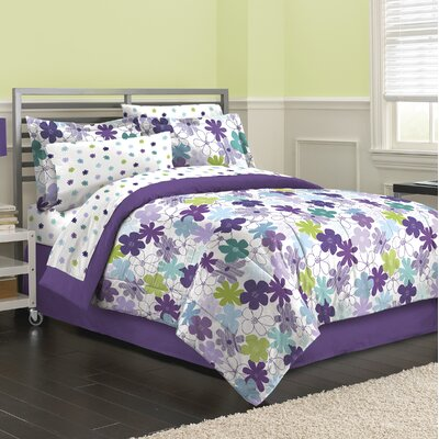 Graphical Daisy 6 Piece Reversible Bed-In-a-Bag Set Size: Full