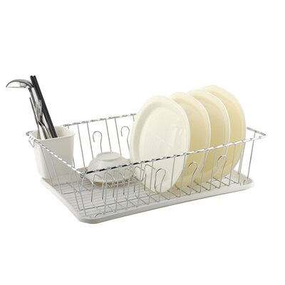 2 Piece Dish Drainer Set Color: White