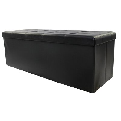 Collapsible Leather Ottoman Upholstery: Black
