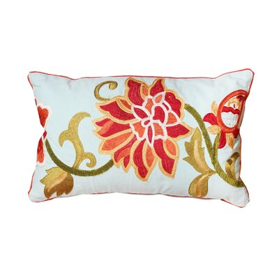 Cabana Embroidered Cotton Lumbar Pillow