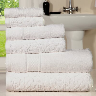 Augustine Cotton 6 Piece Towel Set Color: White