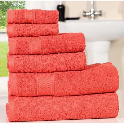 Augustine Cotton 6 Piece Towel Set Color: Mid Red