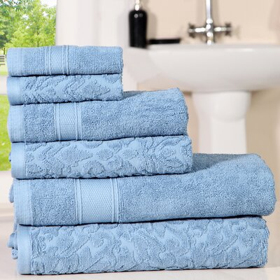 Augustine Cotton 6 Piece Towel Set Color: Forever Blue