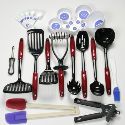 23 Piece Nylon Select Kitchen Tool and Gadget Utensil Set Color: Red 42066