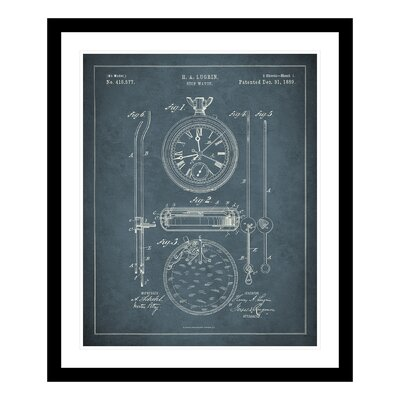 1889 Stopwatch Patent Framed Graphic Art 1264224-1620FD