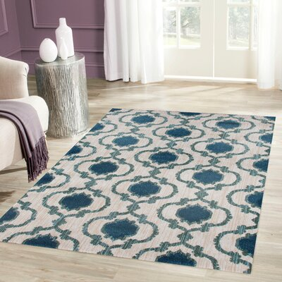 Loft Cream/Blue Area Rug Rug Size: 53 x 73