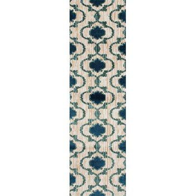Loft Cream/Blue Area Rug Rug Size: Runner 2 x 72