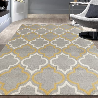 Freeman Gray / Yellow Area Rug Rug Size: 76 x 95