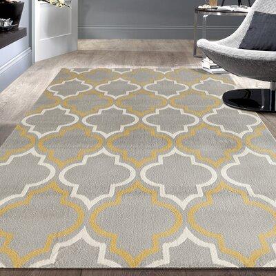 Newport Gray / Yellow Area Rug Rug Size: 5 x 7