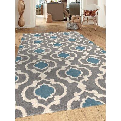 Ingaret Gray/Blue Area Rug Rug Size: 53 x 73