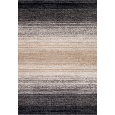 Quicksilver Gray/Black Area Rug Rug Size: 53 x 73