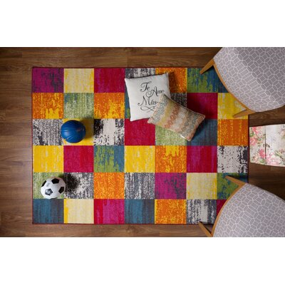 Eddie Red/Orange Area Rug Rug Size: 18 x 26