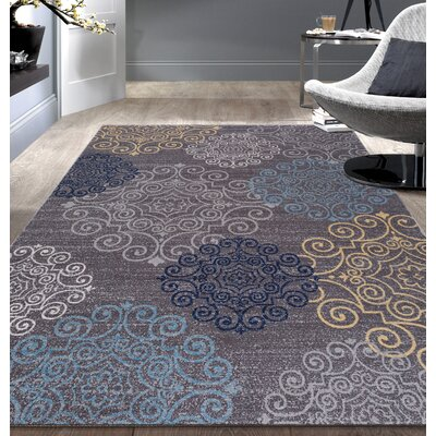Raynor Gray Floral Swirl Area Rug Rug Size: 53 x 73