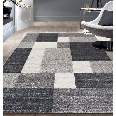 Pamplin Gray Area Rug Rug Size: 53 x 73