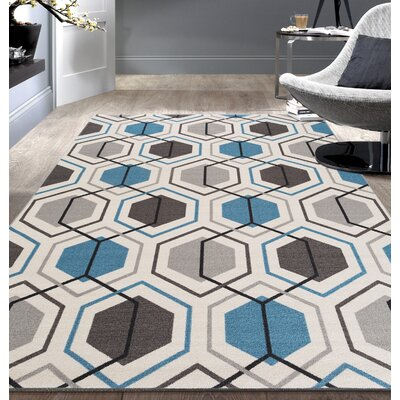 Princess Geometric Stripe Blue Area Rug Rug Size: 5'3