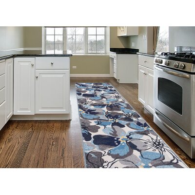 Princess Floral Gray/Blue Area Rug Rug Size: Runner 11 x 7